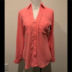 Express The Portofino Shirt in Coral Pink Size XS